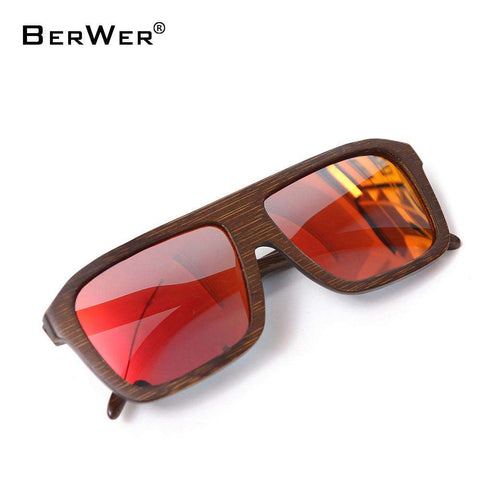 Bamboo Square Wooden Sunglasses For Men