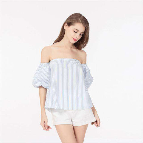 Casual Off Shoulder Puff Sleeves Stripe High Street Tops