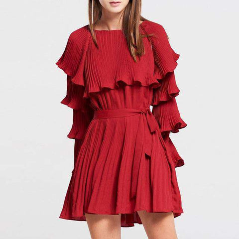 Burgundy Bella Pleated Ruffle Sleeve Belt Mini Dress