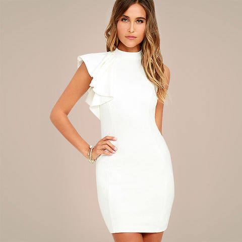 White One Side Tiered Ruffle Sleeveless O Neck Midi Dress