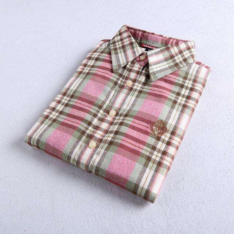 Flannel Plaid Cotton Embroidery Casual Long Sleeve Shirt