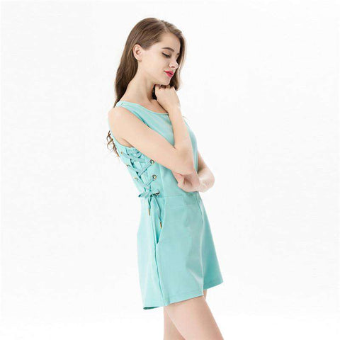 Summer Casual O-neck Sleeveless Elegant Bodycon Romper Jumpsuit