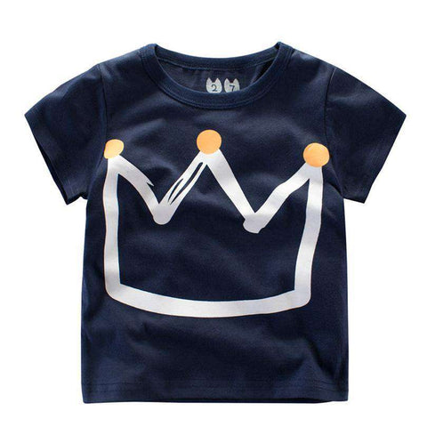 O-Neck Tee Summer Crown Print Short Sleeve Kids T-Shirt