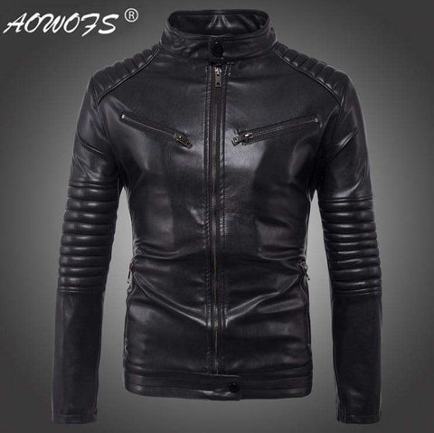 Men Autumn Slim Bomber Faux Leather Jacket