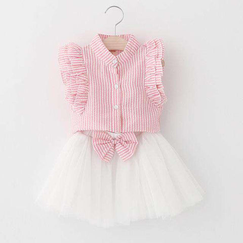 New Petal Sleeve Letter T-shirt Floral kids Skirts