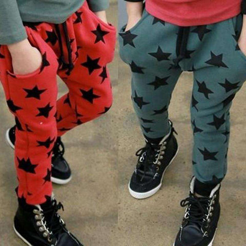 Kids Spring star printing harem pants trousers