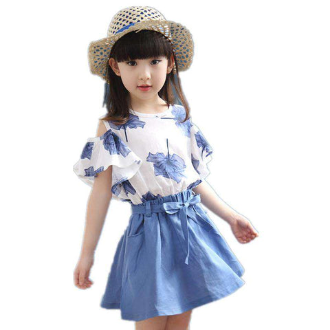 Lace Top Summer Suit Kids Korean Style Skirt