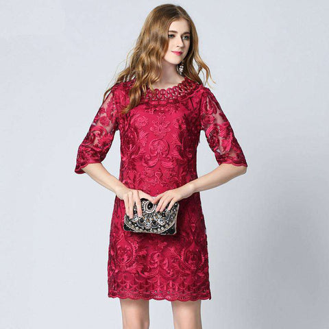Summer Fashion Lace Embroidery Red Dress Women