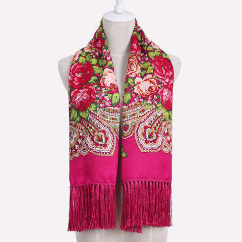 Russian Ethnic Style Scarf Shawl with Floral Print and Tassels