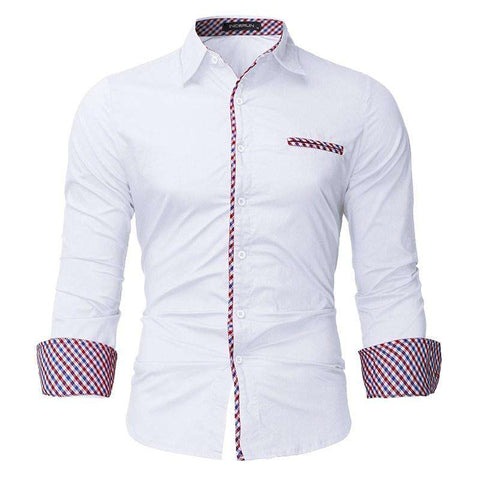British Style Cotton Turn Down Collar Casual Shirt with Long Sleeve