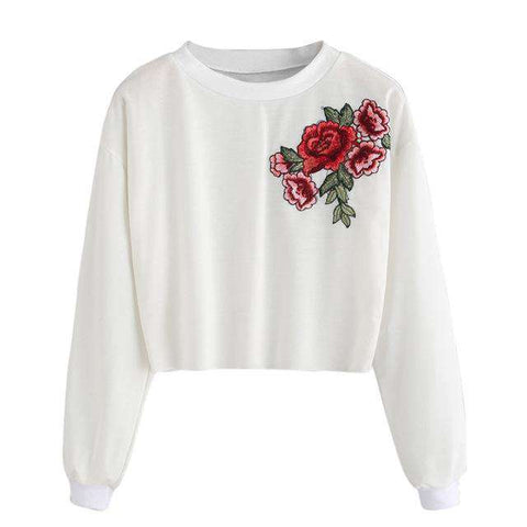 Rose Embroidery Casual Style Black Sweatshirt