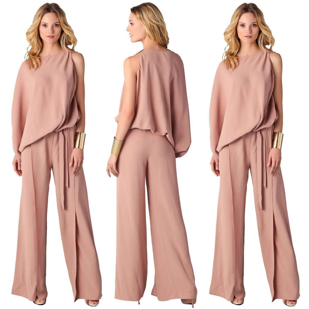Long Pink Formal Romper Jumpsuit With Loose Wide Pant Offer Factor