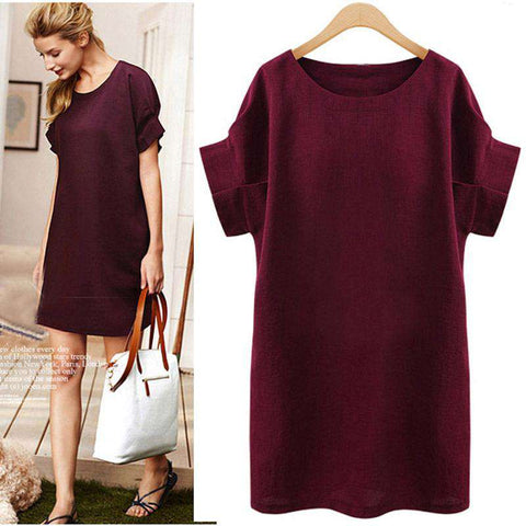 Plus Size Flare Sleeve O-neck Casual Dress