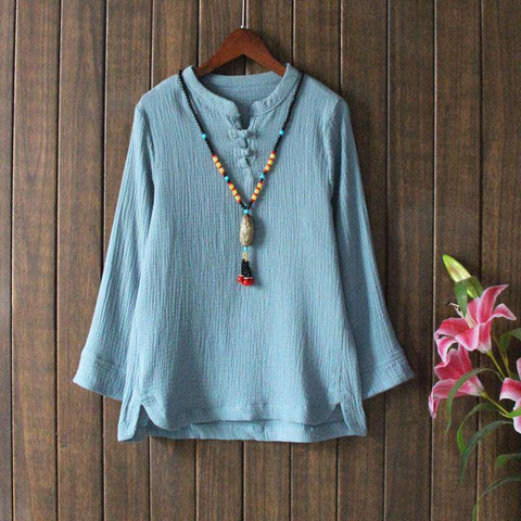 Ethnic Cotton-Linen Vintage Style Buckle Long-sleeves Blouse Shirt