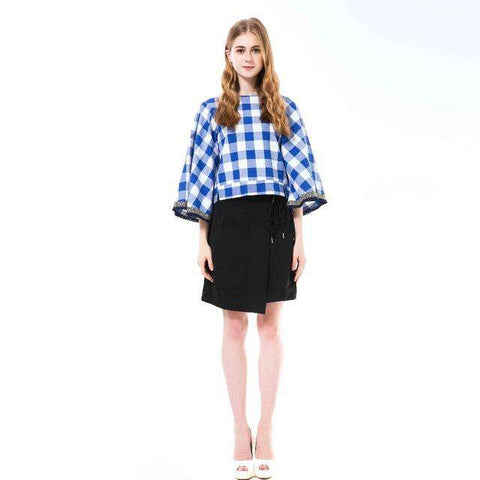 Batwing Sleeve Cotton Blouse O-Neck Plaid Top