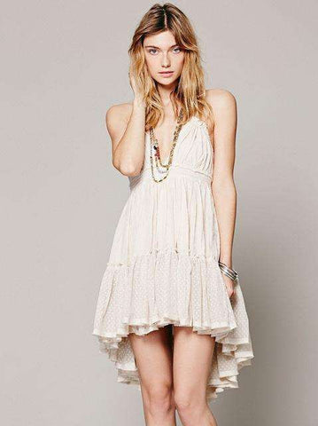 Teenage Backless Beach Strapless Lace Dress