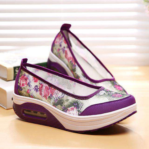 Breathable Casual High Canvas Creeper Wedges
