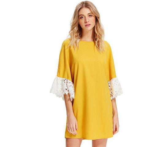 Lace Applique Pearl Beading Yellow Sleeve Dress