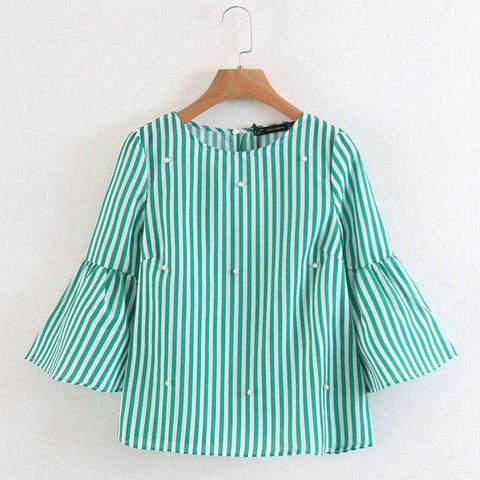 Elegant Beading Pearls with Striped Flare Sleeve O neck Blouse
