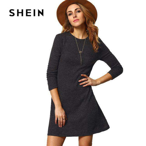 Grey Crew Neck Casual Sweater Dress