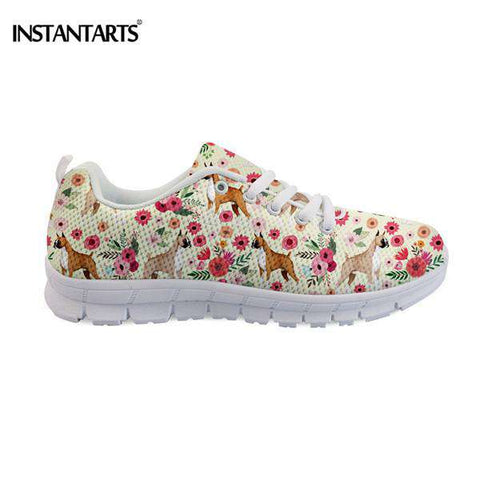 Boxer Dog Floral Breathable Casual Flat Sneaker