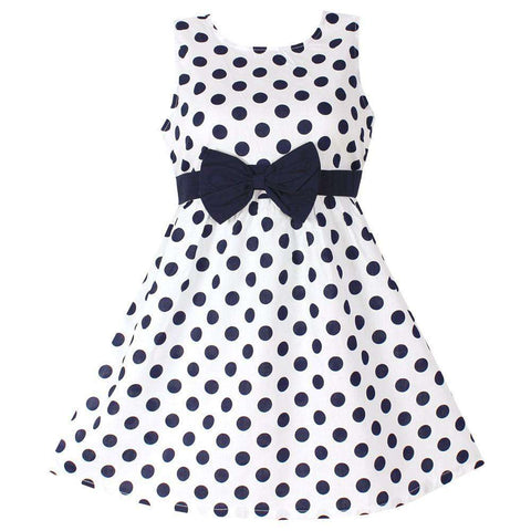 Polka Dot Bow 100% Cotton Kids Party Dress