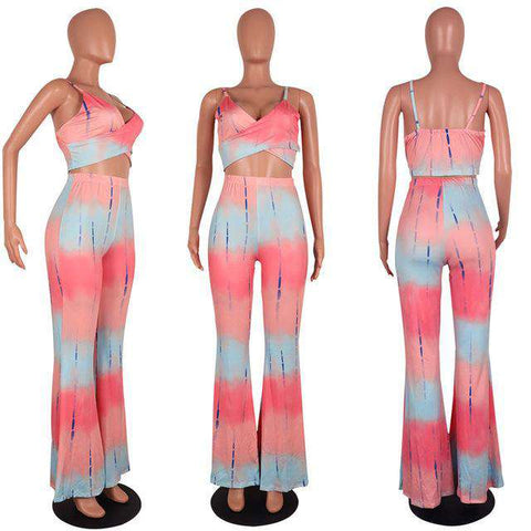 Spaghetti Strap Tie Dye Print Crop Top and Flare Pant