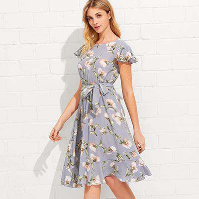 Floral Printed Tie Neck Ruffle Hem Calico Dress
