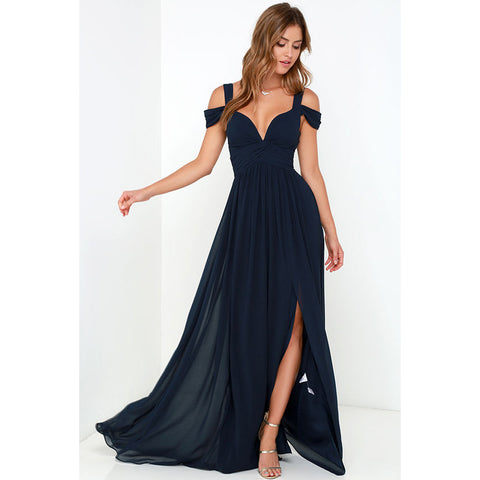 Side Slit V-Neck Floor Length Solid Vestidos Gown Dress