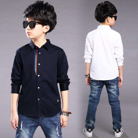 Long Sleeve Casual Kids Turn-down Collar Shirt