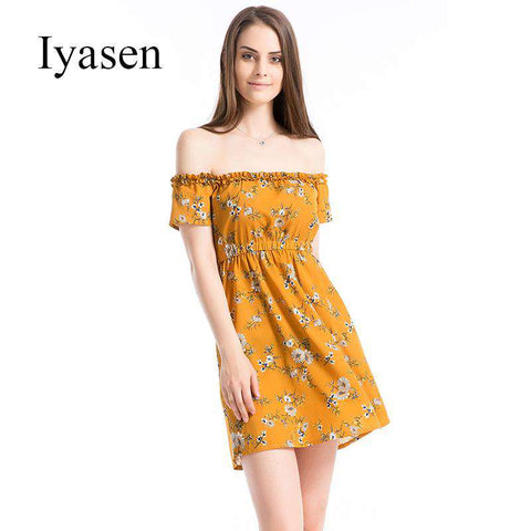 Boat Neck Off Shoulder Short Sleeve Print Dress