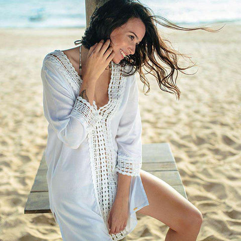 Cover Up Robe Swimsuit Kaftan with V-Neck Beach Tunic