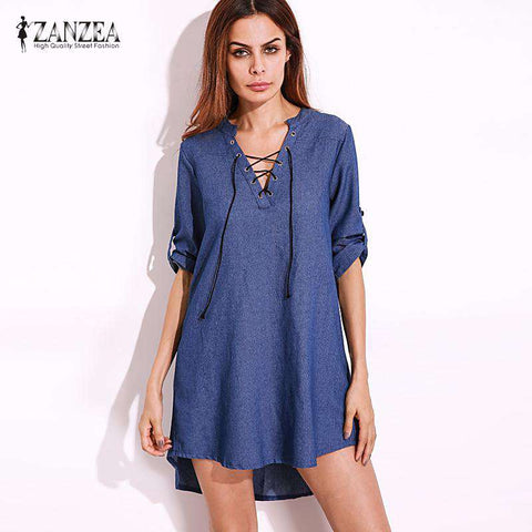 Over-sized Lace-Up V Neck Denim Blue Mini Dress