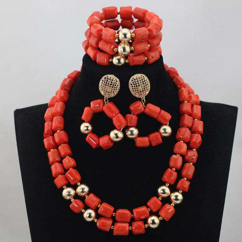 African Coral Beads Jewelry Necklace Sets