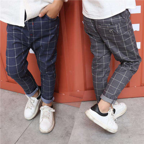 Elastic Waist Autumn Spring Kids Casual Plaid Pants