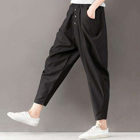 Ankle length Solid Button Elastic Waist Harem Pant Trouser