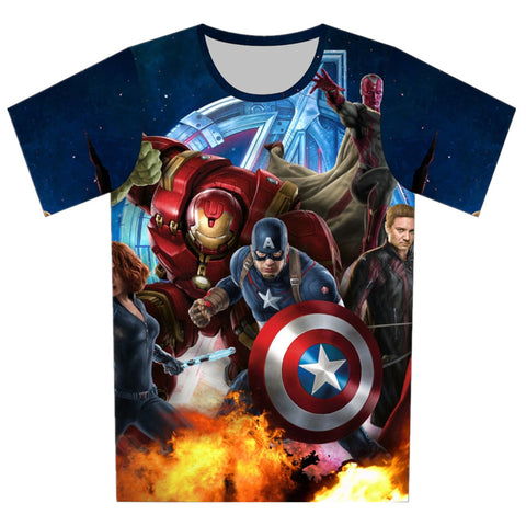 Super Hero Tops Summer Avengers Kids Cool 3d T-shirt