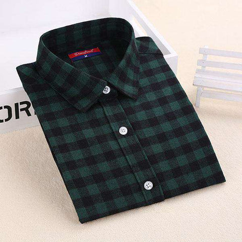 Long Sleeve Plaid Flannel Blouses Shirt Female