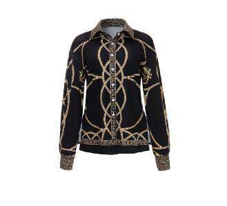 Gold Chain Turn Down Collar Button up Print Blouse