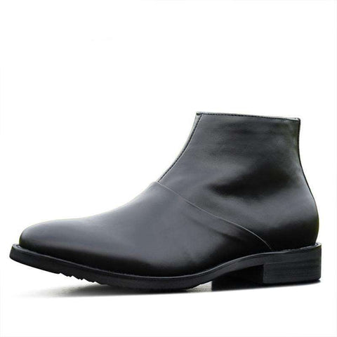 Real leather black Ankle Length Men Zipper Boots