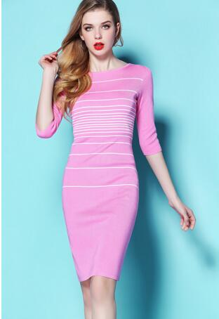Slim Formal Vintage Half Sleeve Stripe Knitted Dress