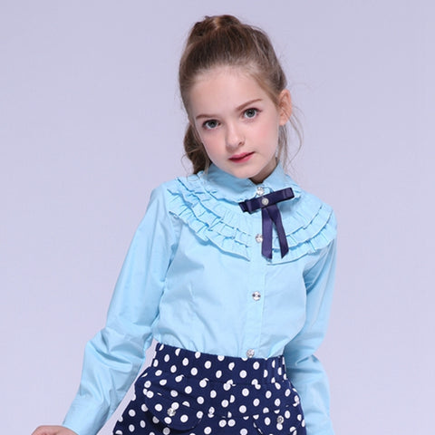 Tops Fashion Long Sleeve Ruffles Kids Teenage Shirt
