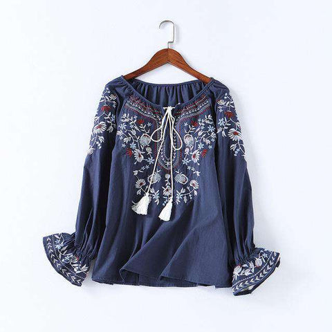 Casual Cotton Floral Embroidery Lace-up O-neck Blouse