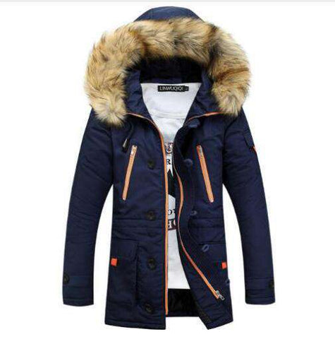 Hooded Fur Navy Parka Men Winter Long Jacket Coat