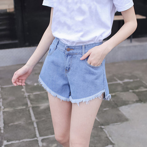 Tassel Vintage Denim Jeans Fit Hole Loose High Waist Short