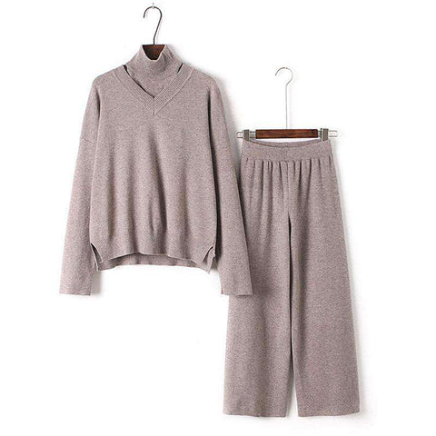 3 Piece Turtleneck Sweater with knitted Trouser Suit Pant