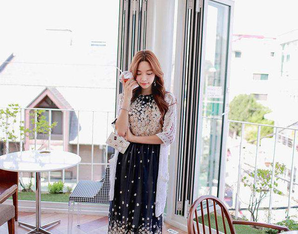 Floral Print Chiffon Summer Long Maxi Dress