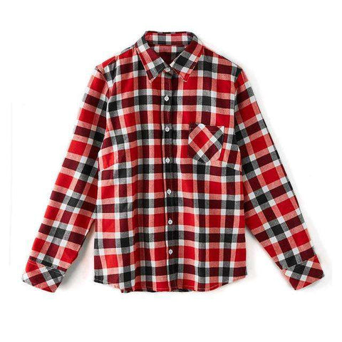 Cotton Long-Sleeved Plaid Shirt Flannel Blouse