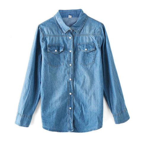 Jeans Casual Cotton Denim Long Sleeve Blouse