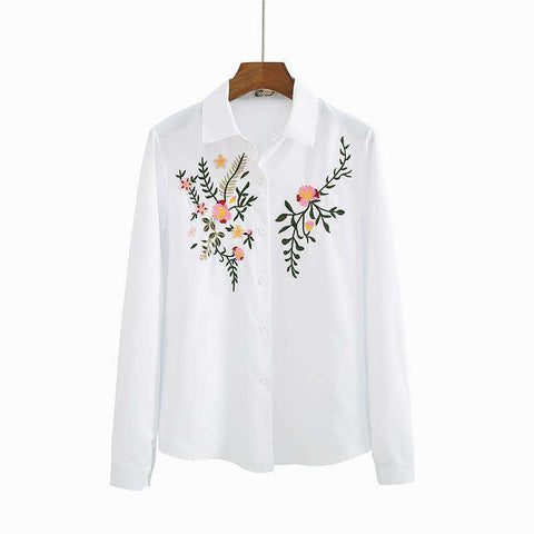Flower Pattern Long Sleeve Striped Embroidered Casual Shirt